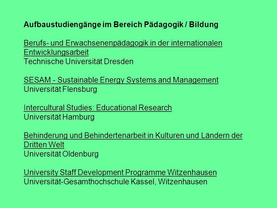 Aufbaustudiengänge im Bereich Pädagogik / Bildung Berufs- und Erwachsenenpädagogik in der internationalen Entwicklungsarbeit Technische Universität Dr