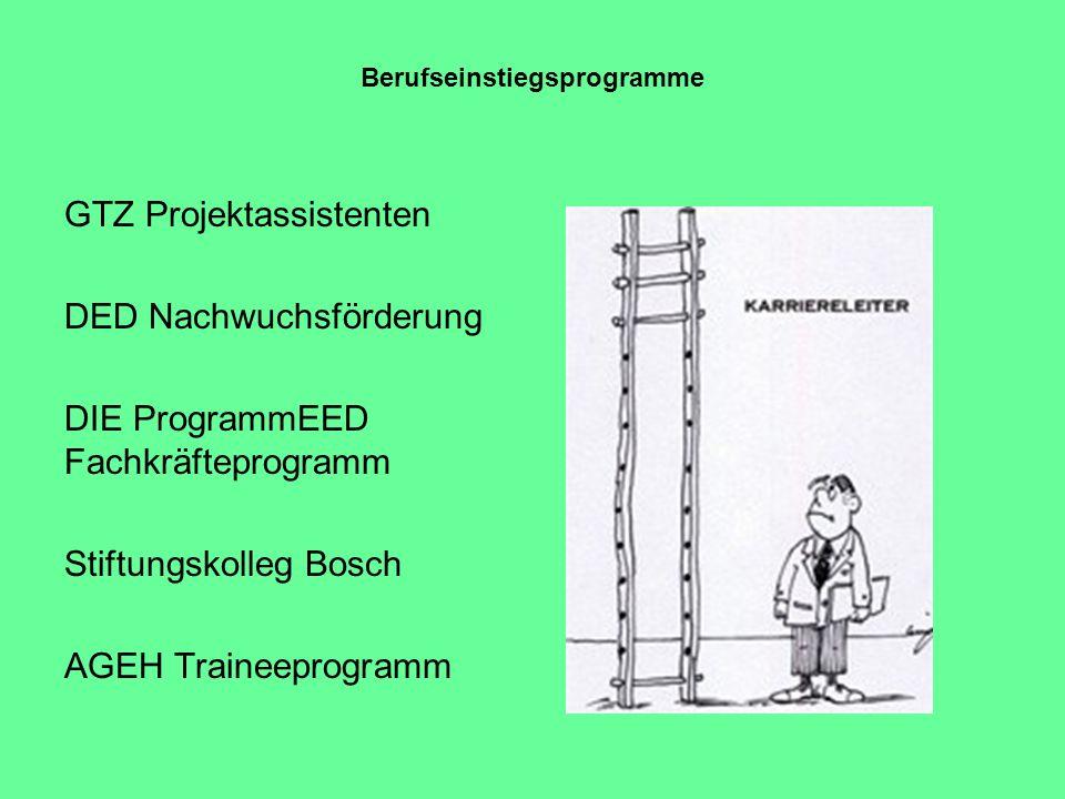 Berufseinstiegsprogramme GTZ Projektassistenten DED Nachwuchsförderung DIE ProgrammEED Fachkräfteprogramm Stiftungskolleg Bosch AGEH Traineeprogramm