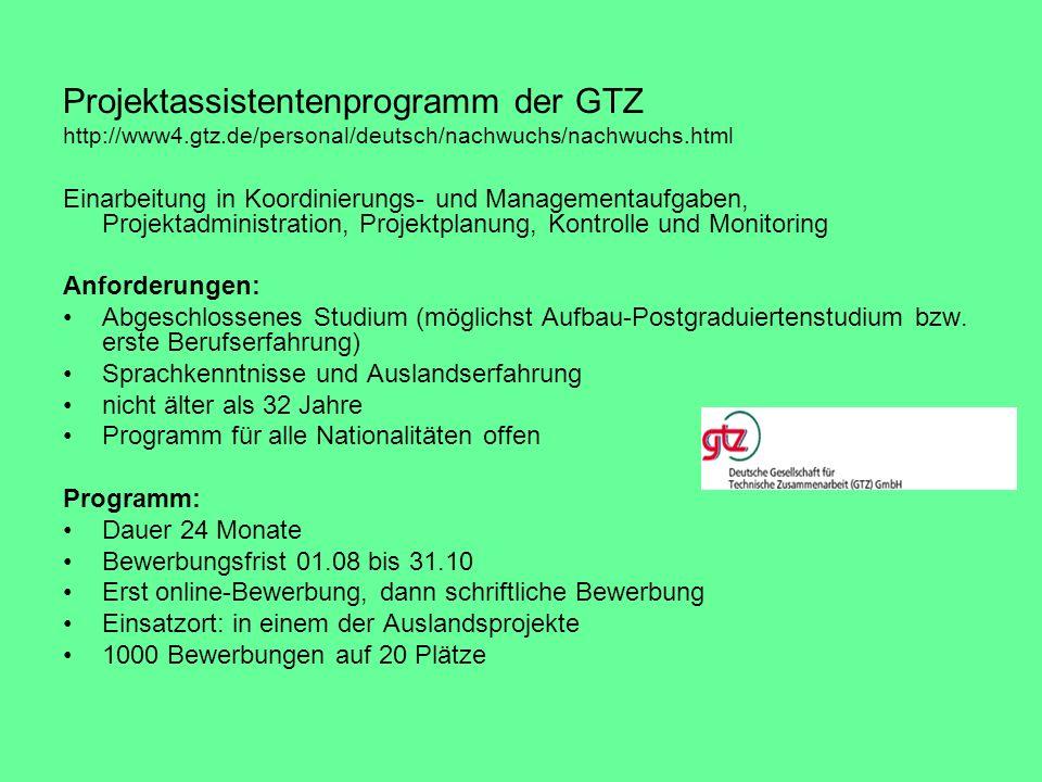 Projektassistentenprogramm der GTZ http://www4.gtz.de/personal/deutsch/nachwuchs/nachwuchs.html Einarbeitung in Koordinierungs- und Managementaufgaben