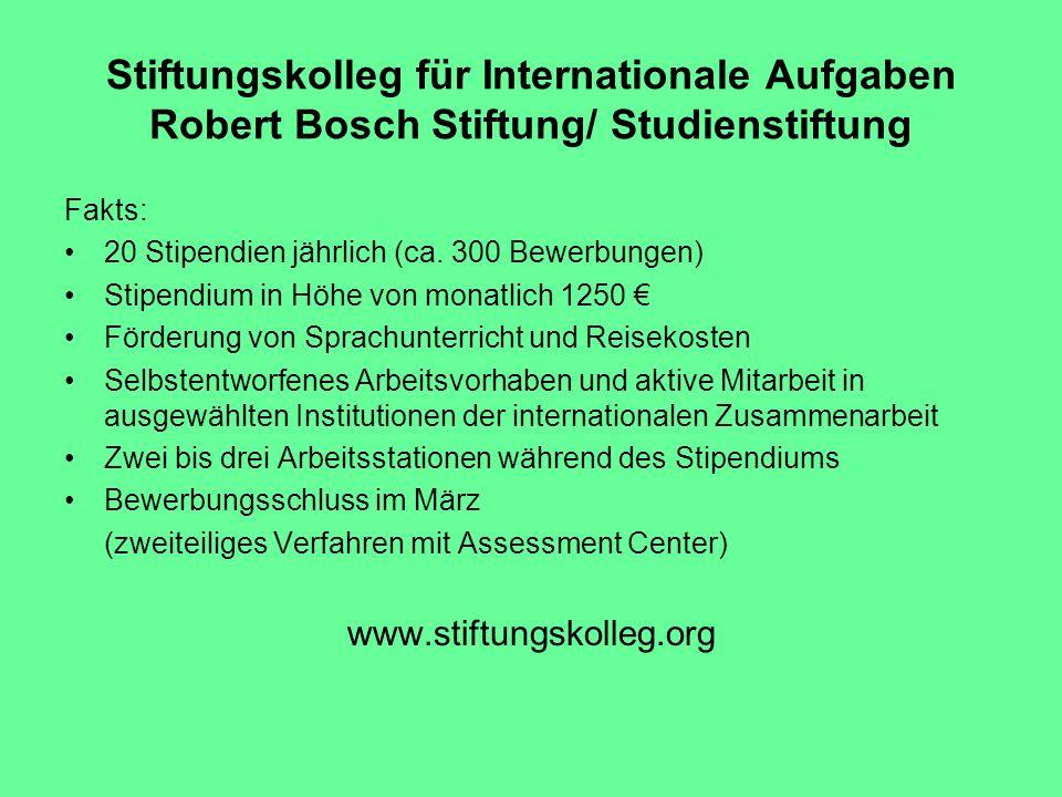 Stiftungskolleg für Internationale Aufgaben Robert Bosch Stiftung/ Studienstiftung Fakts: 20 Stipendien jährlich (ca. 300 Bewerbungen) Stipendium in H