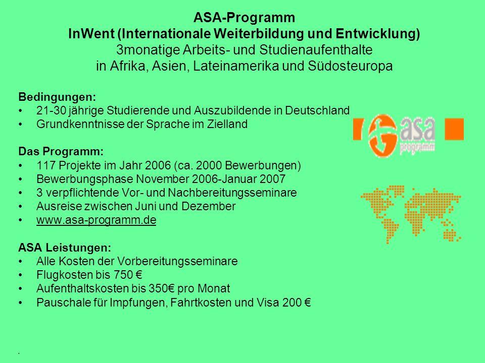 ASA-Programm InWent (Internationale Weiterbildung und Entwicklung) 3monatige Arbeits- und Studienaufenthalte in Afrika, Asien, Lateinamerika und Südos