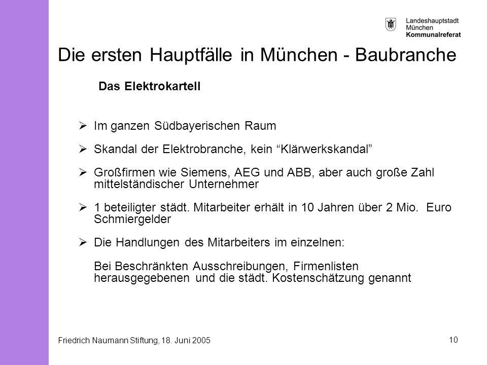 Friedrich Naumann Stiftung, 18. Juni 200510 Die ersten Hauptfälle in München - Baubranche Das Elektrokartell Im ganzen Südbayerischen Raum Skandal der