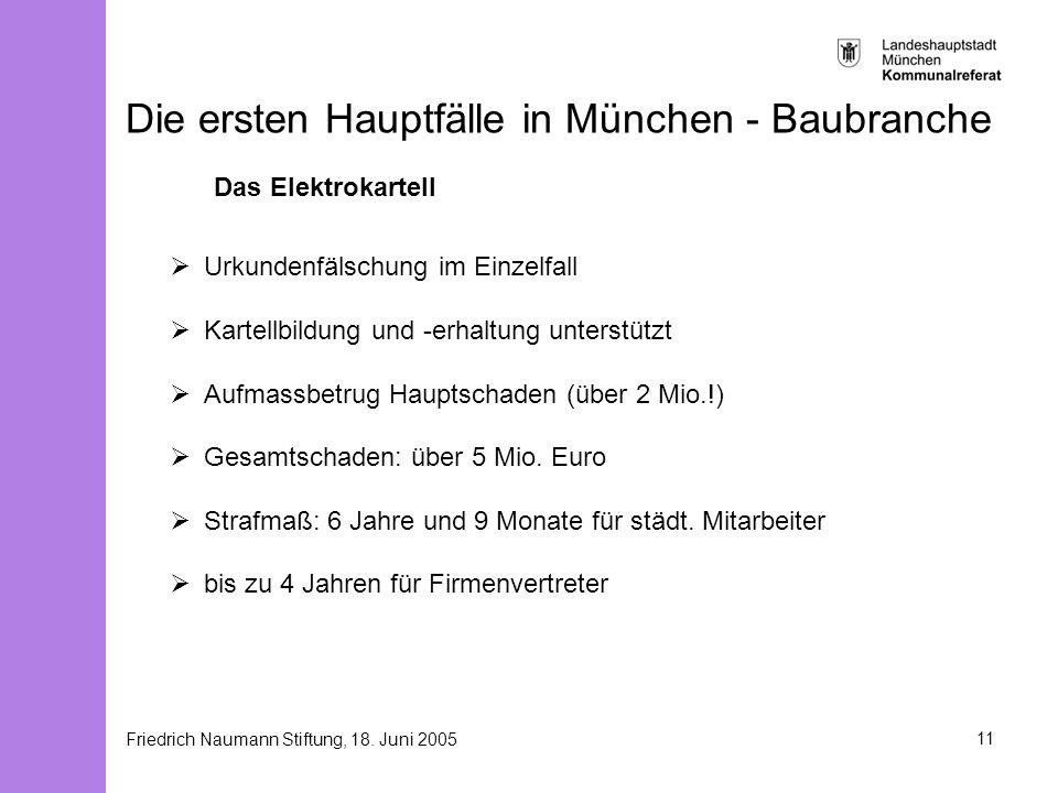 Friedrich Naumann Stiftung, 18. Juni 200511 Die ersten Hauptfälle in München - Baubranche Das Elektrokartell Urkundenfälschung im Einzelfall Kartellbi