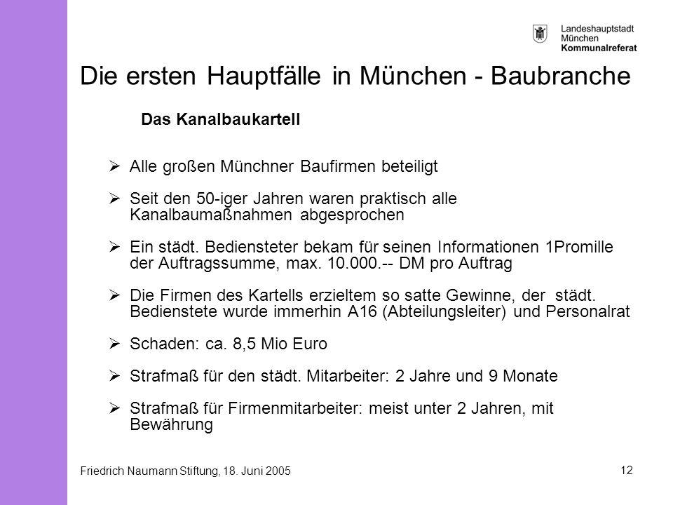 Friedrich Naumann Stiftung, 18. Juni 200512 Die ersten Hauptfälle in München - Baubranche Das Kanalbaukartell Alle großen Münchner Baufirmen beteiligt
