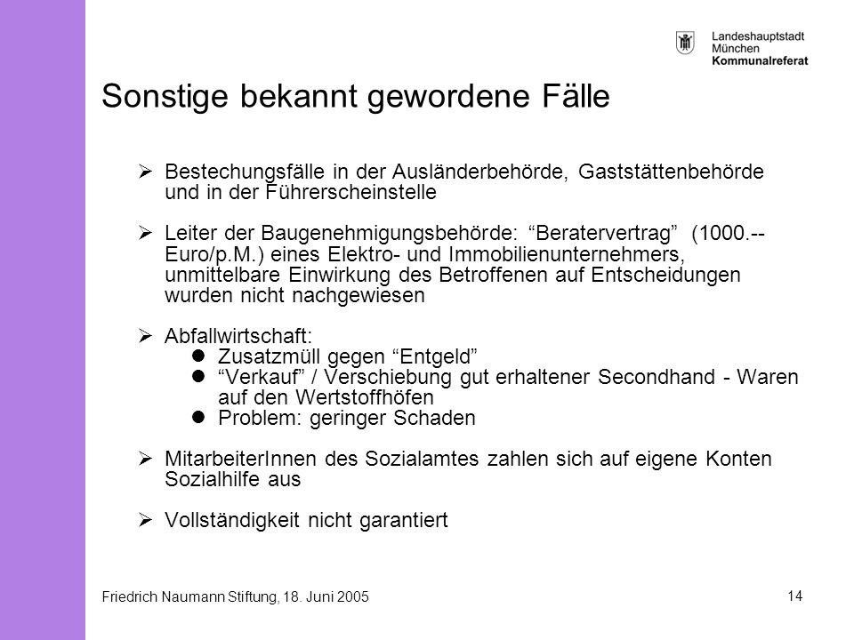 Friedrich Naumann Stiftung, 18. Juni 200514 Sonstige bekannt gewordene Fälle Bestechungsfälle in der Ausländerbehörde, Gaststättenbehörde und in der F