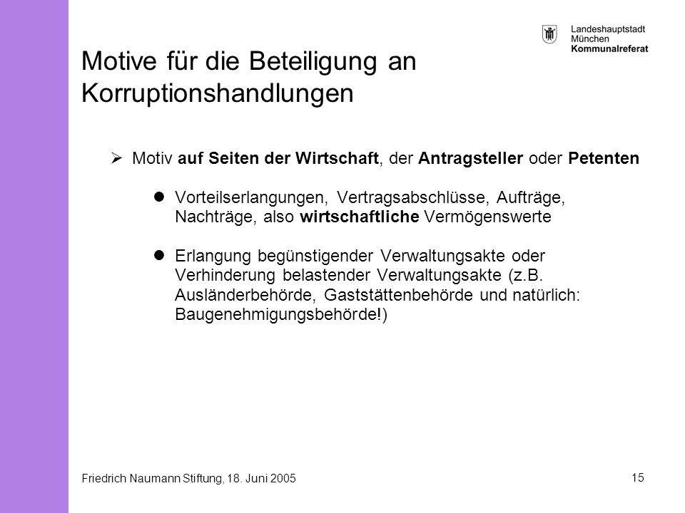 Friedrich Naumann Stiftung, 18. Juni 200515 Motive für die Beteiligung an Korruptionshandlungen Motiv auf Seiten der Wirtschaft, der Antragsteller ode