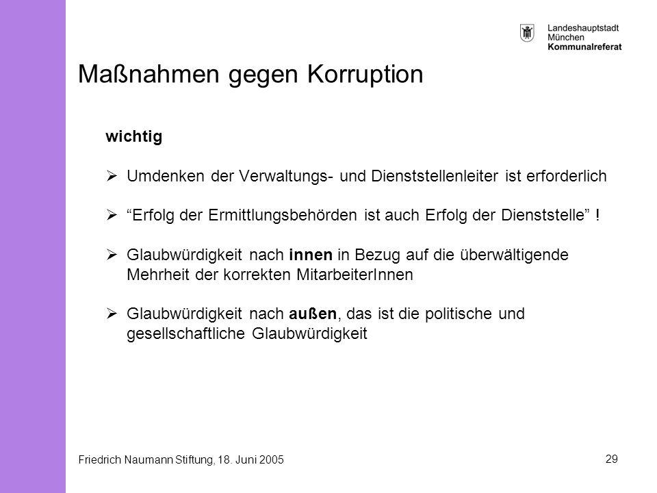 Friedrich Naumann Stiftung, 18. Juni 200529 Maßnahmen gegen Korruption wichtig Umdenken der Verwaltungs- und Dienststellenleiter ist erforderlich Erfo