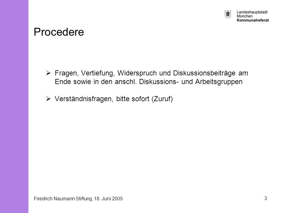 Friedrich Naumann Stiftung, 18. Juni 20053 Procedere Fragen, Vertiefung, Widerspruch und Diskussionsbeiträge am Ende sowie in den anschl. Diskussions-