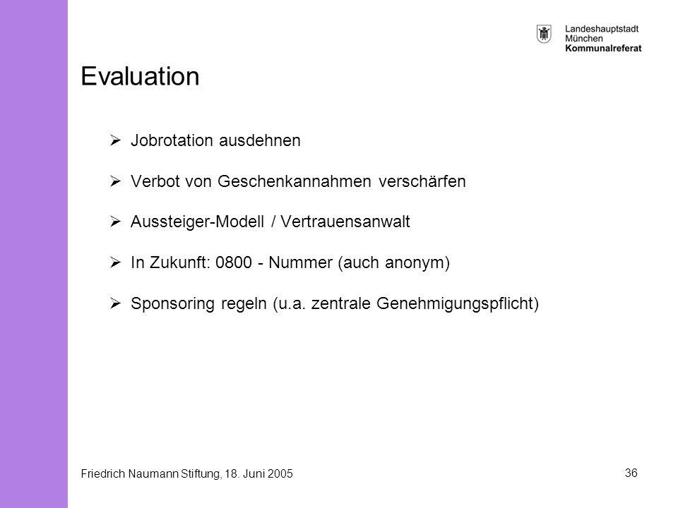 Friedrich Naumann Stiftung, 18. Juni 200536 Evaluation Jobrotation ausdehnen Verbot von Geschenkannahmen verschärfen Aussteiger-Modell / Vertrauensanw