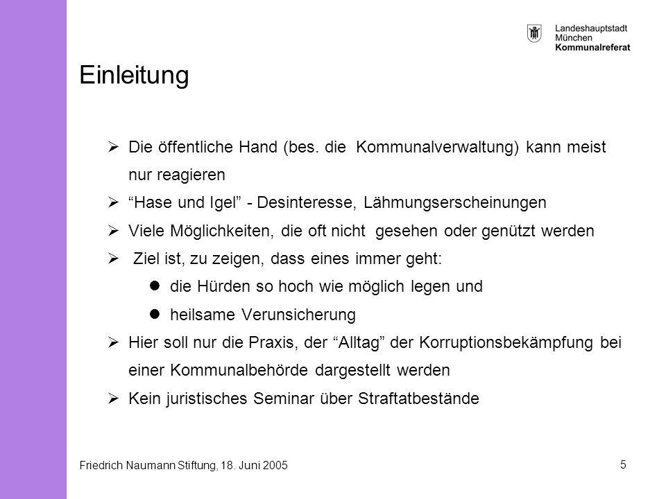 Friedrich Naumann Stiftung, 18. Juni 20055 Einleitung Die öffentliche Hand (bes. die Kommunalverwaltung) kann meist nur reagieren Hase und Igel - Desi