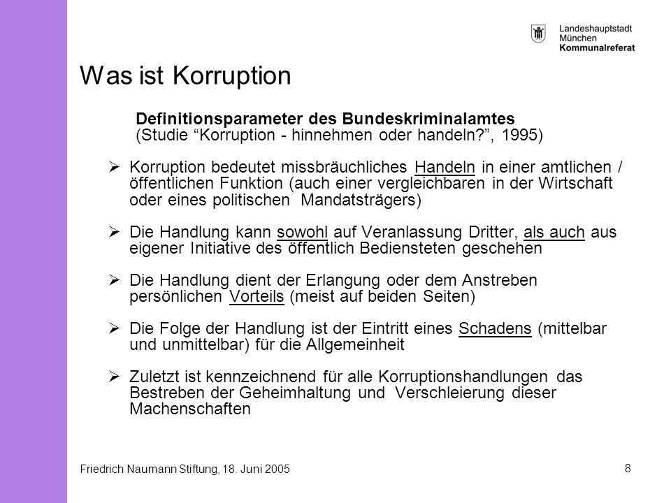 Friedrich Naumann Stiftung, 18. Juni 20058 Was ist Korruption Definitionsparameter des Bundeskriminalamtes (Studie Korruption - hinnehmen oder handeln