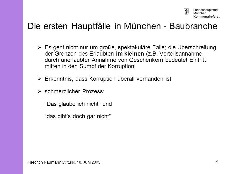 Friedrich Naumann Stiftung, 18. Juni 20059 Die ersten Hauptfälle in München - Baubranche Es geht nicht nur um große, spektakuläre Fälle; die Überschre