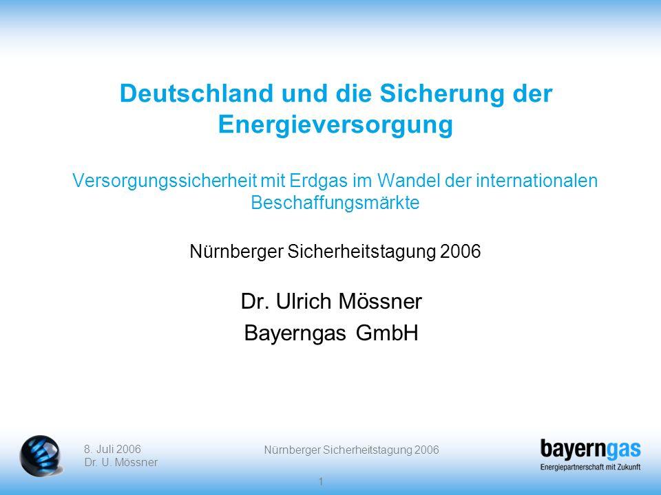 8. Juli 2006 Dr. U. Mössner Nürnberger Sicherheitstagung 2006 1 Deutschland und die Sicherung der Energieversorgung Versorgungssicherheit mit Erdgas i