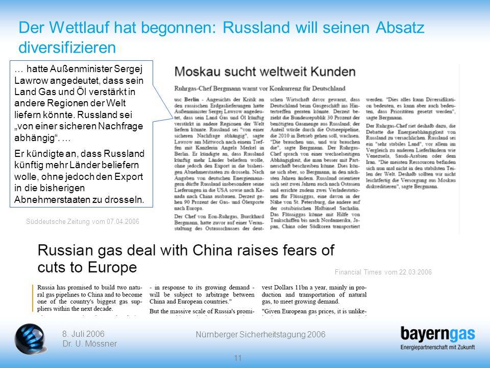 8. Juli 2006 Dr. U. Mössner Nürnberger Sicherheitstagung 2006 11 Der Wettlauf hat begonnen: Russland will seinen Absatz diversifizieren … hatte Außenm