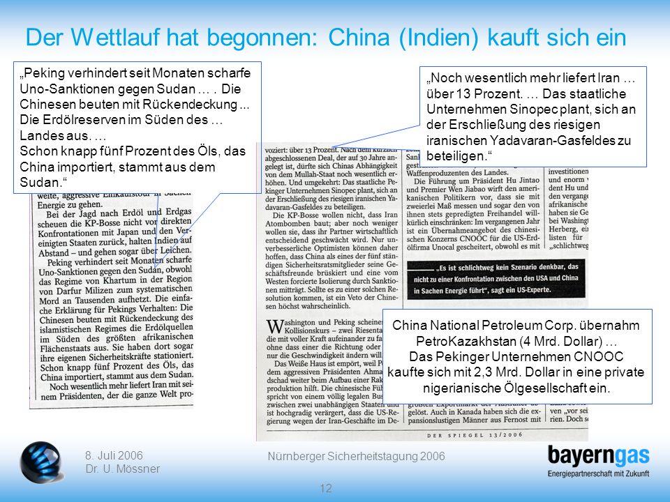 8. Juli 2006 Dr. U. Mössner Nürnberger Sicherheitstagung 2006 12 Der Wettlauf hat begonnen: China (Indien) kauft sich ein Peking verhindert seit Monat