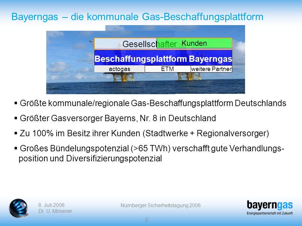 8. Juli 2006 Dr. U. Mössner Nürnberger Sicherheitstagung 2006 2 Bayerngas – die kommunale Gas-Beschaffungsplattform Größte kommunale/regionale Gas-Bes