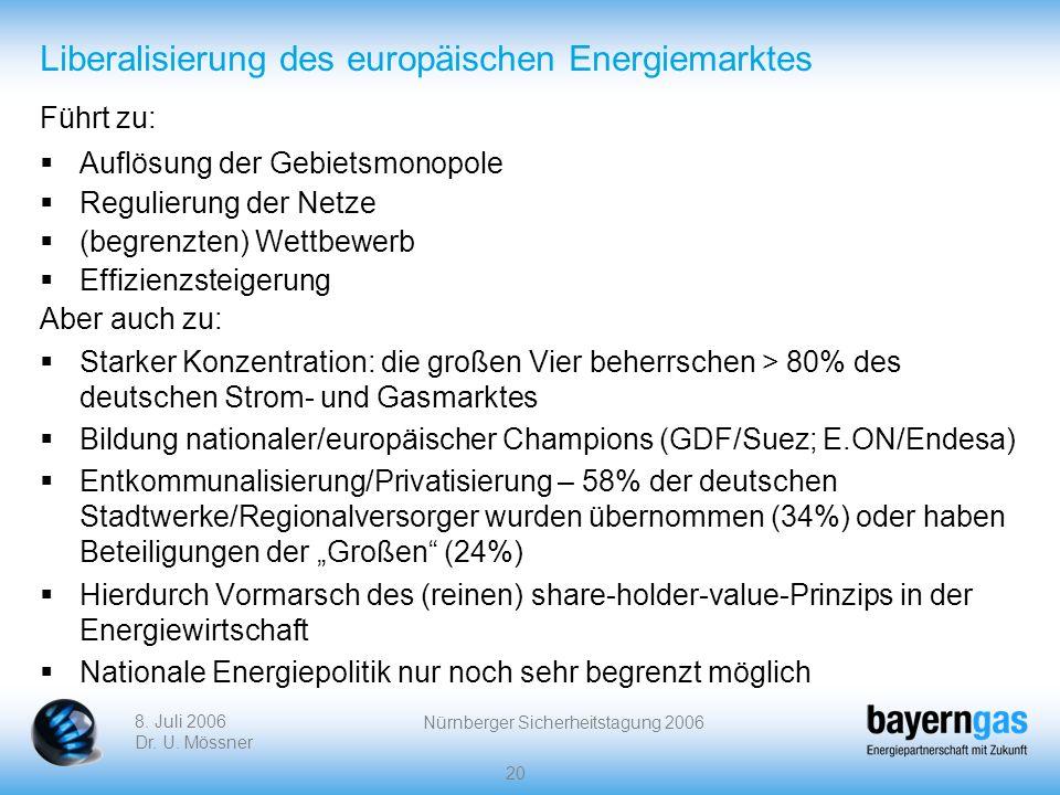 8. Juli 2006 Dr. U. Mössner Nürnberger Sicherheitstagung 2006 20 Liberalisierung des europäischen Energiemarktes Führt zu: Auflösung der Gebietsmonopo
