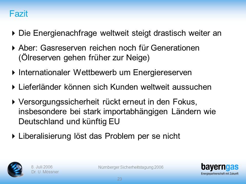 8. Juli 2006 Dr. U. Mössner Nürnberger Sicherheitstagung 2006 23 Fazit Die Energienachfrage weltweit steigt drastisch weiter an Aber: Gasreserven reic