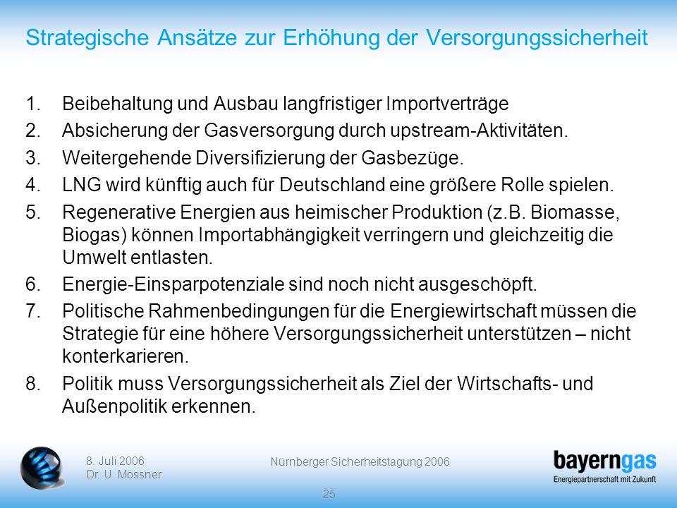 8. Juli 2006 Dr. U. Mössner Nürnberger Sicherheitstagung 2006 25 Strategische Ansätze zur Erhöhung der Versorgungssicherheit 1.Beibehaltung und Ausbau