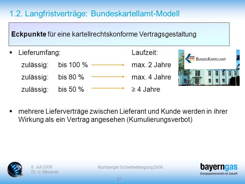 8. Juli 2006 Dr. U. Mössner Nürnberger Sicherheitstagung 2006 27 1.2. Langfristverträge: Bundeskartellamt-Modell Lieferumfang:Laufzeit: zulässig:bis 1
