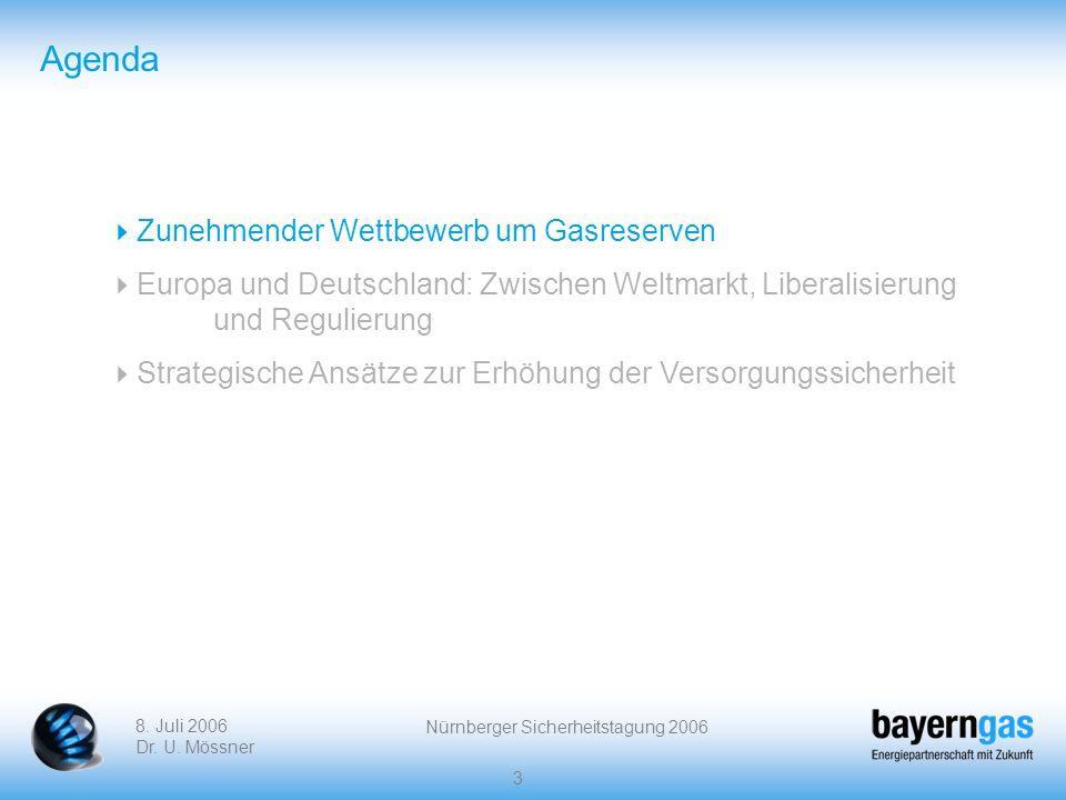 8. Juli 2006 Dr. U. Mössner Nürnberger Sicherheitstagung 2006 3 Agenda Zunehmender Wettbewerb um Gasreserven Europa und Deutschland: Zwischen Weltmark