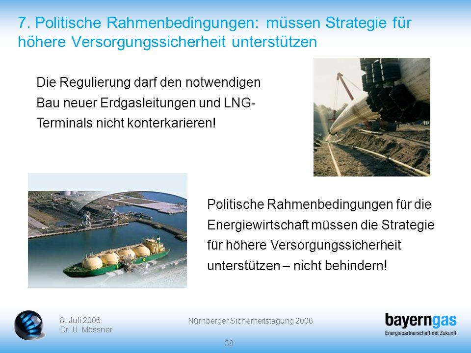8. Juli 2006 Dr. U. Mössner Nürnberger Sicherheitstagung 2006 38 7. Politische Rahmenbedingungen: müssen Strategie für höhere Versorgungssicherheit un