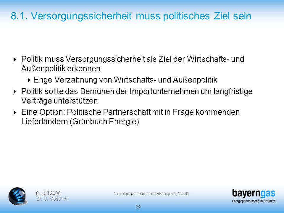 8. Juli 2006 Dr. U. Mössner Nürnberger Sicherheitstagung 2006 39 8.1. Versorgungssicherheit muss politisches Ziel sein Politik muss Versorgungssicherh
