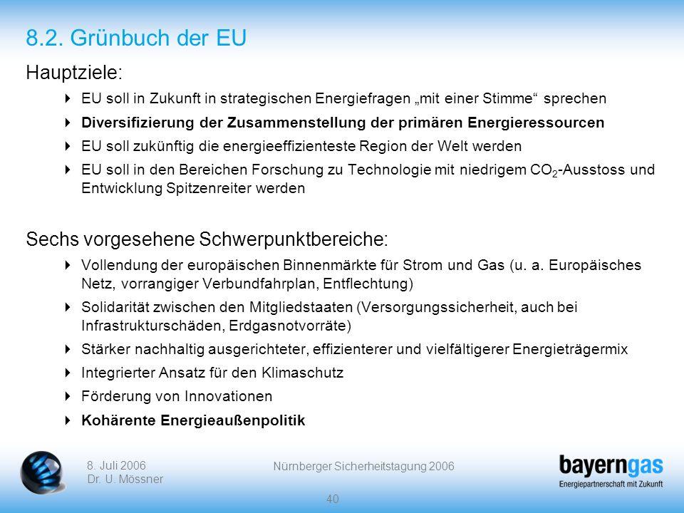 8. Juli 2006 Dr. U. Mössner Nürnberger Sicherheitstagung 2006 40 8.2. Grünbuch der EU Hauptziele: EU soll in Zukunft in strategischen Energiefragen mi