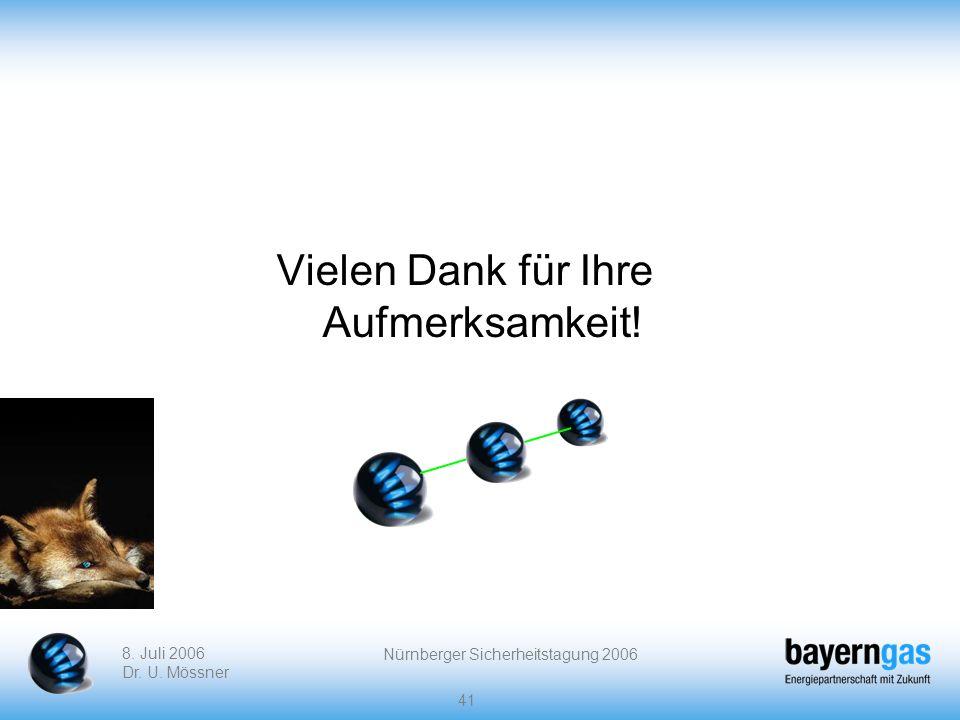 8. Juli 2006 Dr. U. Mössner Nürnberger Sicherheitstagung 2006 41 Vielen Dank für Ihre Aufmerksamkeit!
