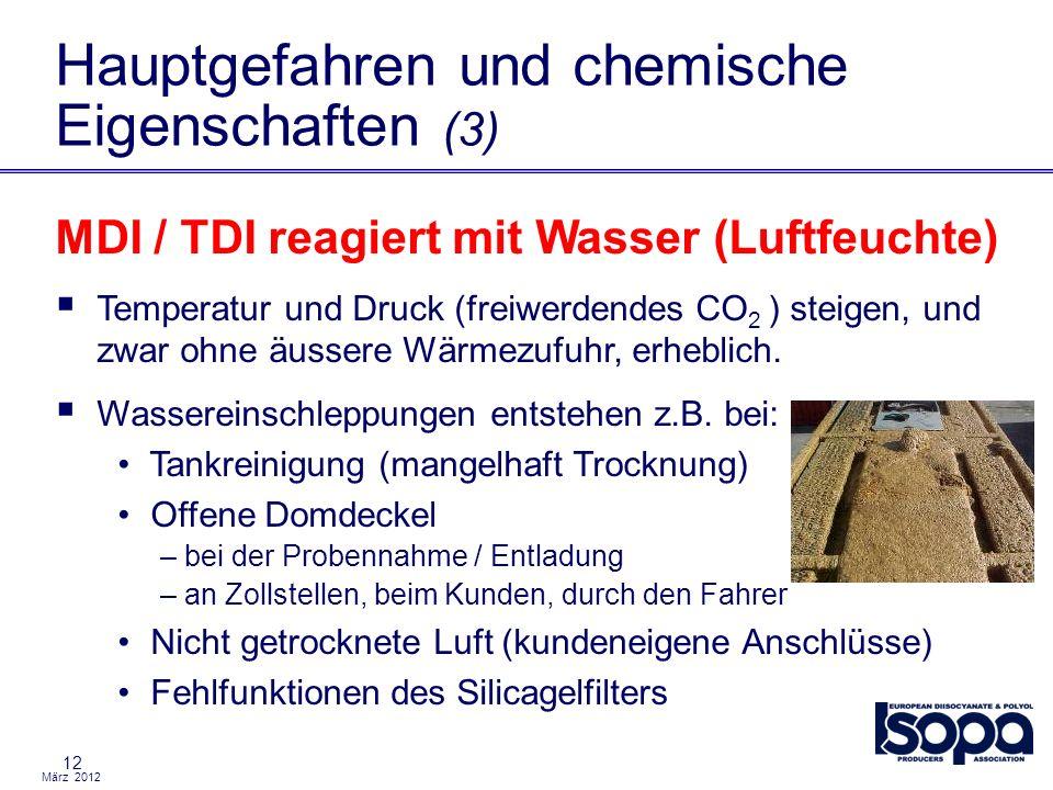 März 2012 12 Hauptgefahren und chemische Eigenschaften (3) MDI / TDI reagiert mit Wasser (Luftfeuchte) Temperatur und Druck (freiwerdendes CO 2 ) stei