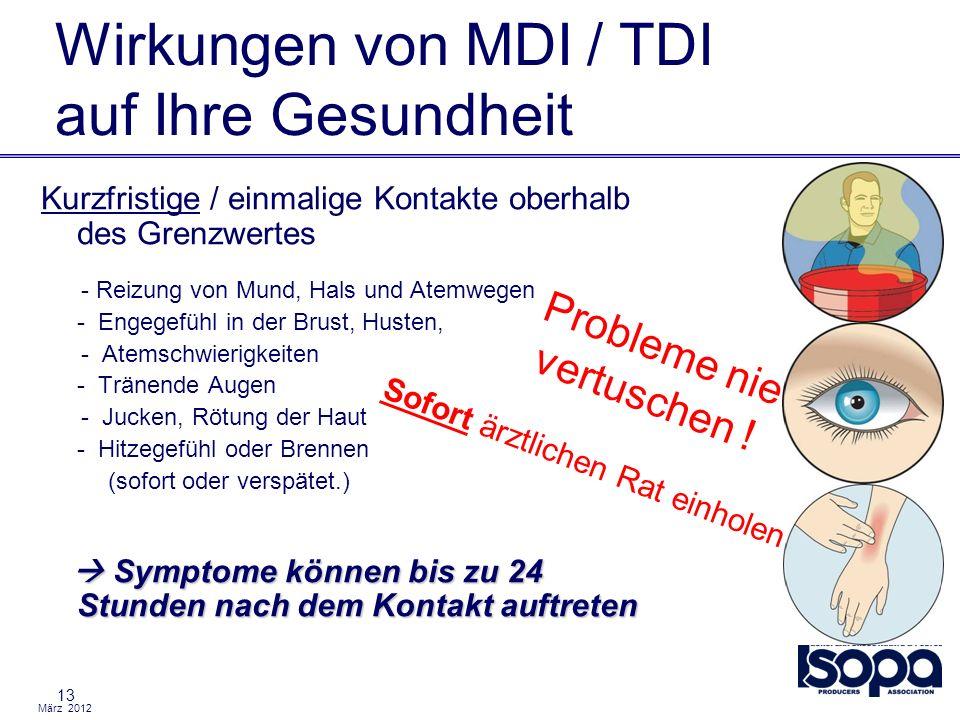 März 2012 Wirkungen von MDI / TDI auf Ihre Gesundheit 13 Kurzfristige / einmalige Kontakte oberhalb des Grenzwertes - Reizung von Mund, Hals und Atemw