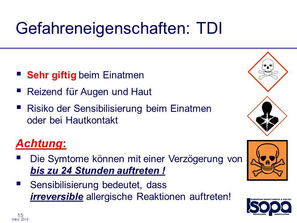März 2012 15 Gefahreneigenschaften: TDI Sehr giftig beim Einatmen Reizend für Augen und Haut Risiko der Sensibilisierung beim Einatmen oder bei Hautko