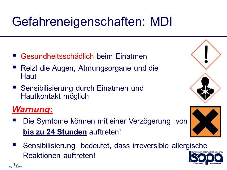 März 2012 16 Gefahreneigenschaften: MDI Gesundheitsschädlich beim Einatmen Reizt die Augen, Atmungsorgane und die Haut Sensibilisierung durch Einatmen