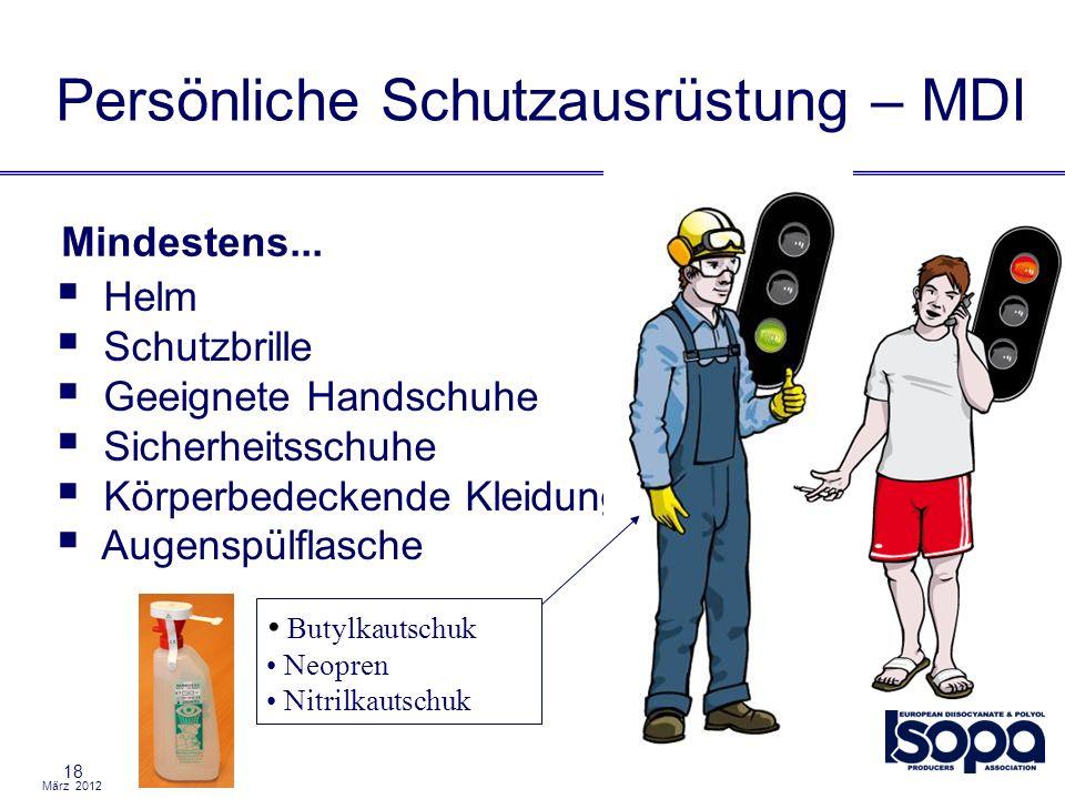 März 2012 18 Helm Schutzbrille Geeignete Handschuhe Sicherheitsschuhe Körperbedeckende Kleidung Augenspülflasche Persönliche Schutzausrüstung – MDI Mi