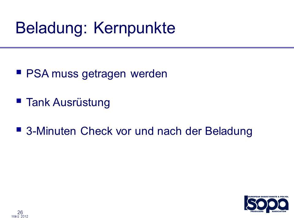 März 2012 26 Beladung: Kernpunkte PSA muss getragen werden Tank Ausrüstung 3-Minuten Check vor und nach der Beladung