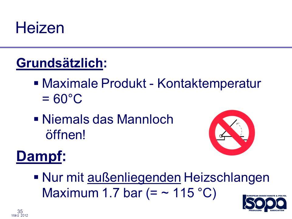 März 2012 35 Heizen Grundsätzlich: Maximale Produkt - Kontaktemperatur = 60°C Niemals das Mannloch öffnen! Dampf: Nur mit außenliegenden Heizschlangen