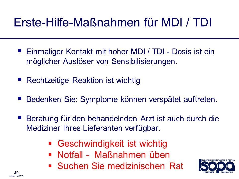 März 2012 49 Einmaliger Kontakt mit hoher MDI / TDI - Dosis ist ein möglicher Auslöser von Sensibilisierungen. Rechtzeitige Reaktion ist wichtig Beden