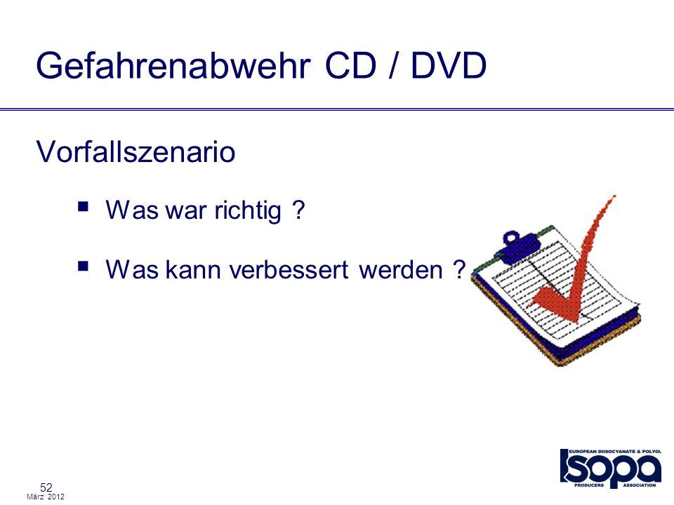 März 2012 52 Gefahrenabwehr CD / DVD Vorfallszenario Was war richtig ? Was kann verbessert werden ?