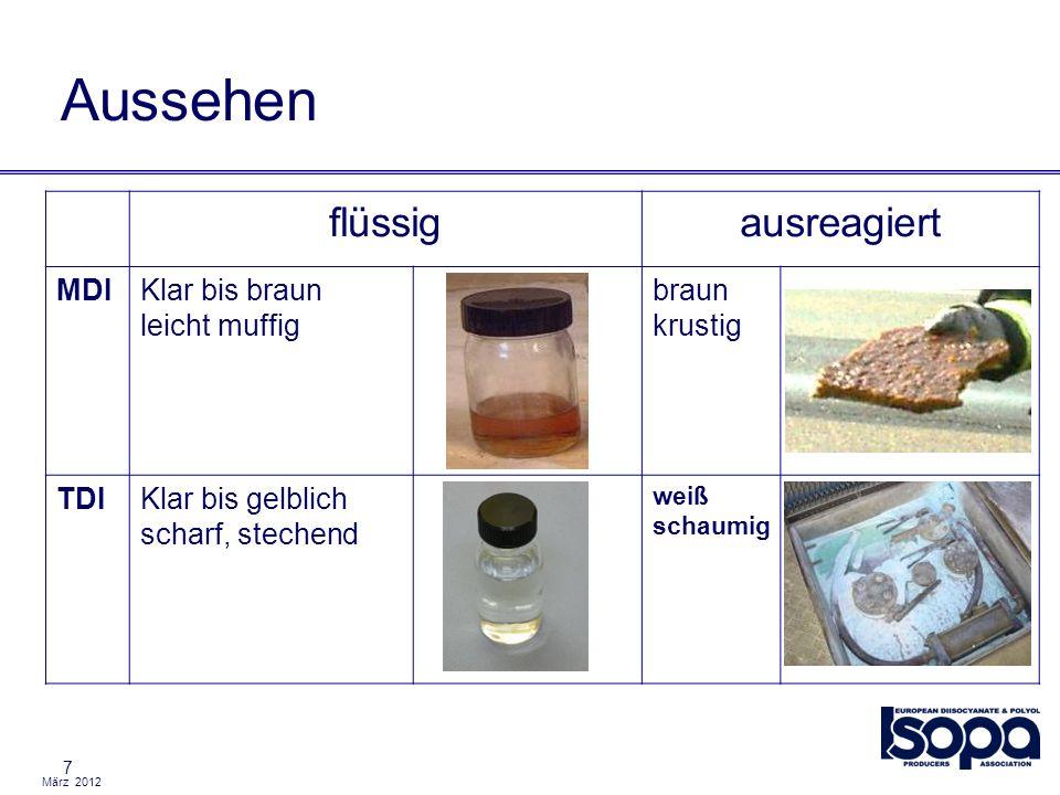 März 2012 8 MaximaleArbeitsplatzKonzentration (MAK) MAK: 5.0 – 10.0 ppb Geruchsgrenze: 0.2 – 0.4 ppm Daher: Wenn man es riecht, ist der Grenzwert überschritten.