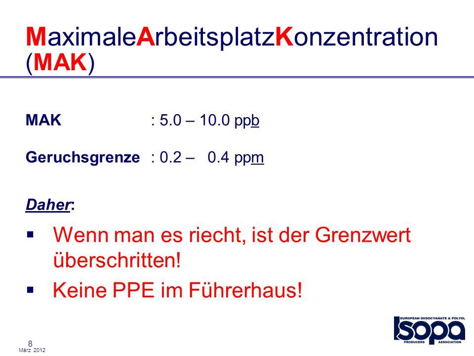 März 2012 8 MaximaleArbeitsplatzKonzentration (MAK) MAK: 5.0 – 10.0 ppb Geruchsgrenze: 0.2 – 0.4 ppm Daher: Wenn man es riecht, ist der Grenzwert über
