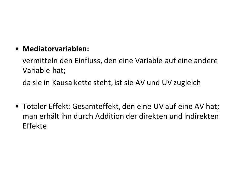 Mediatorvariablen: vermitteln den Einfluss, den eine Variable auf eine andere Variable hat; da sie in Kausalkette steht, ist sie AV und UV zugleich To