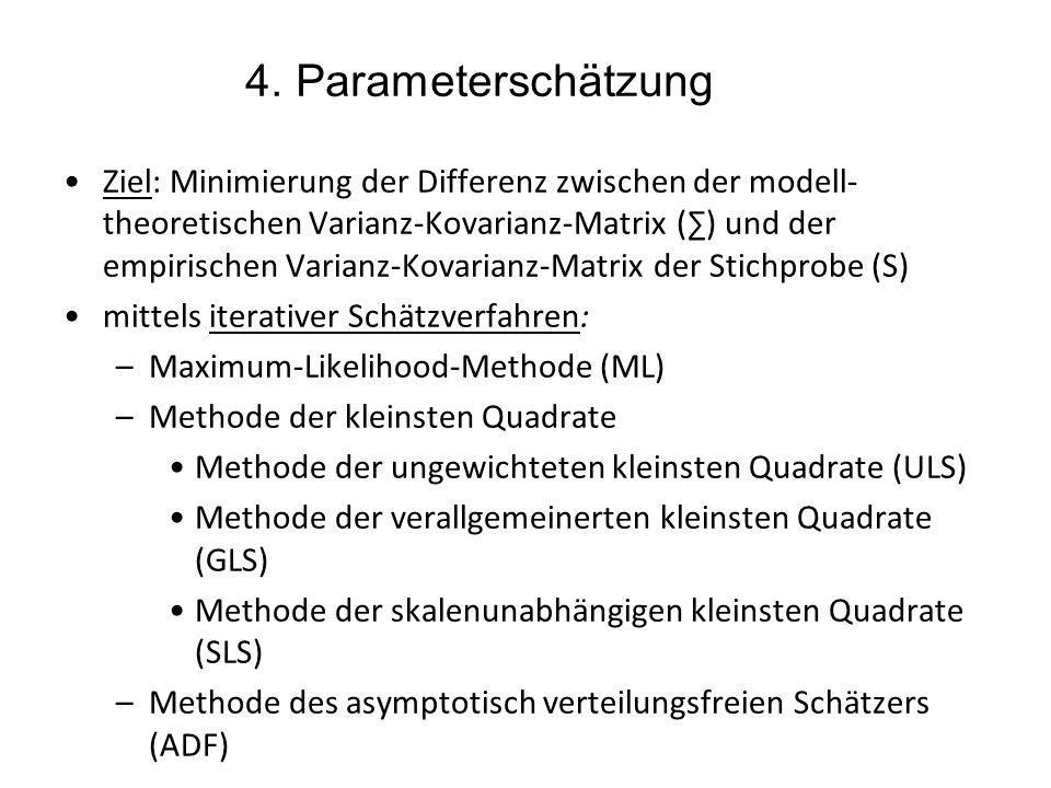 4. Parameterschätzung Ziel: Minimierung der Differenz zwischen der modell- theoretischen Varianz-Kovarianz-Matrix () und der empirischen Varianz-Kovar