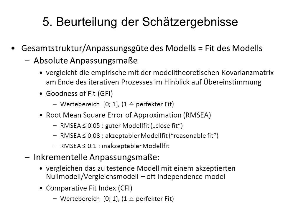 5. Beurteilung der Schätzergebnisse Gesamtstruktur/Anpassungsgüte des Modells = Fit des Modells –Absolute Anpassungsmaße vergleicht die empirische mit