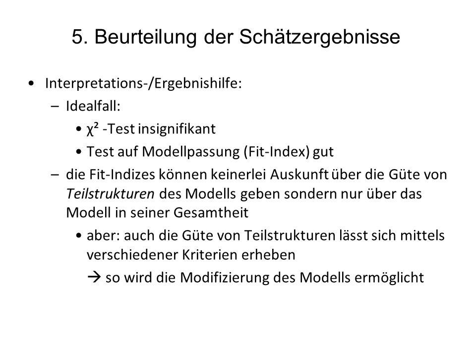 5. Beurteilung der Schätzergebnisse Interpretations-/Ergebnishilfe: –Idealfall: χ² -Test insignifikant Test auf Modellpassung (Fit-Index) gut –die Fit