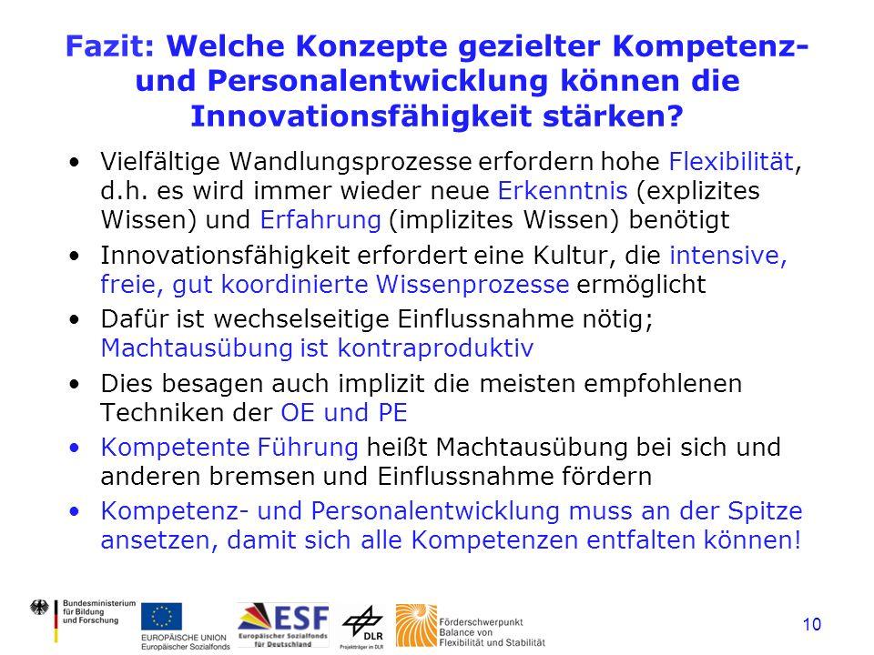 Fazit: Welche Konzepte gezielter Kompetenz- und Personalentwicklung können die Innovationsfähigkeit stärken.