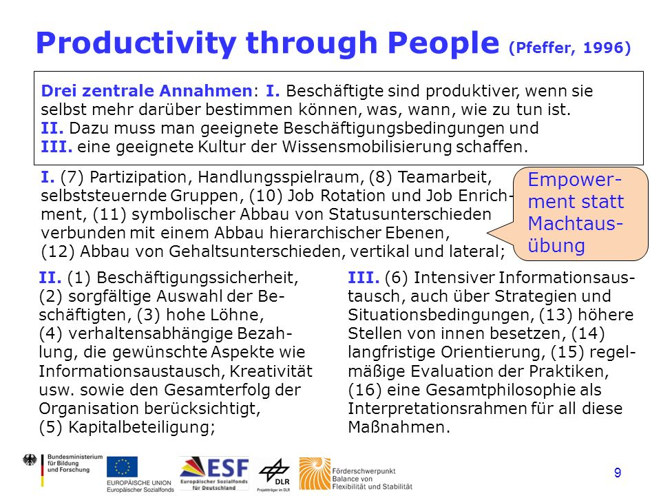 9 Productivity through People (Pfeffer, 1996) Drei zentrale Annahmen: I.