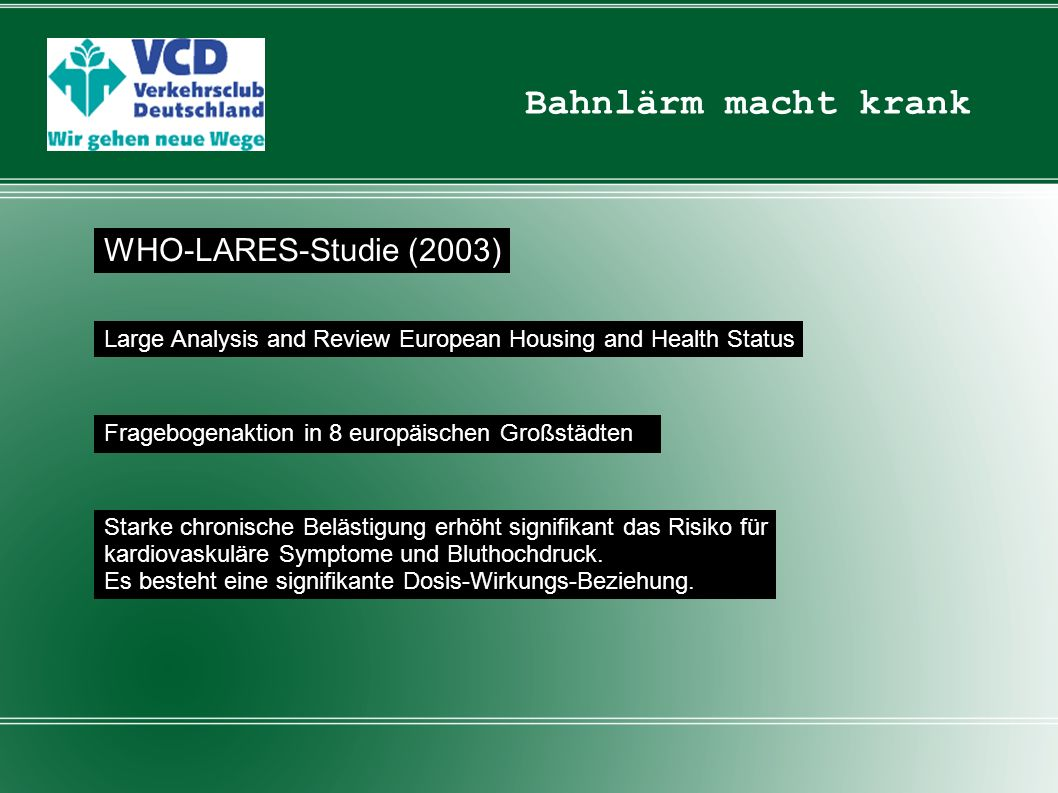 Bahnlärm macht krank WHO-LARES-Studie (2003) Large Analysis and Review European Housing and Health Status Fragebogenaktion in 8 europäischen Großstädt