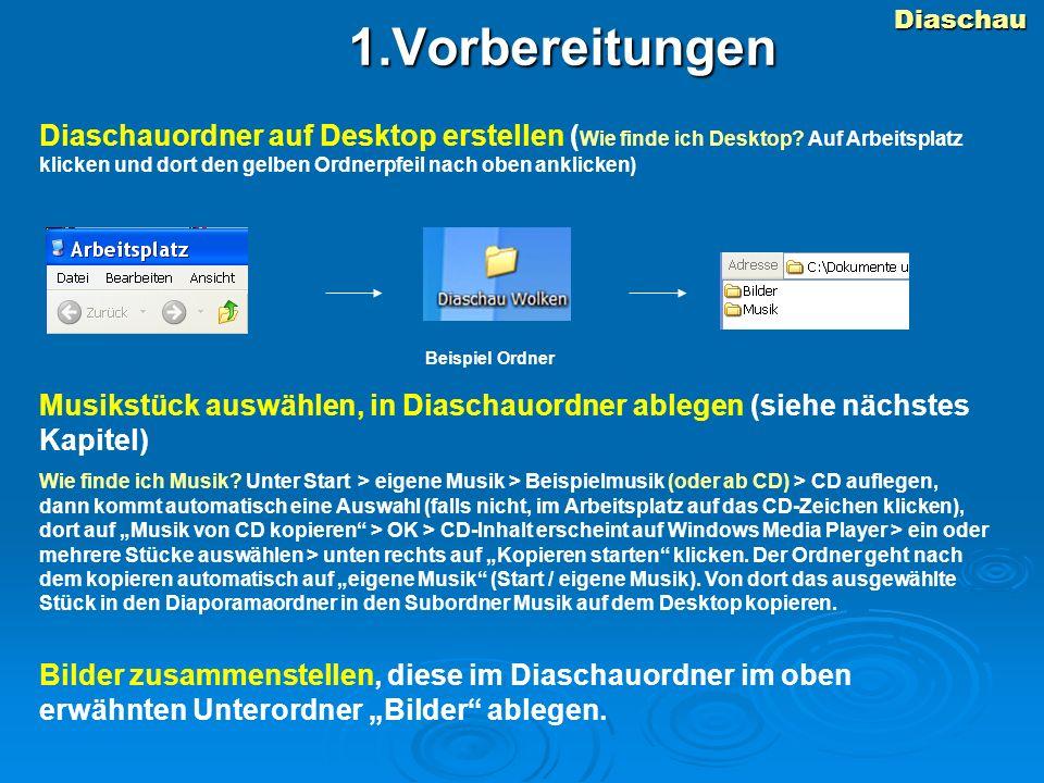 Diaschau1.Vorbereitungen Diaschauordner auf Desktop erstellen ( Wie finde ich Desktop.