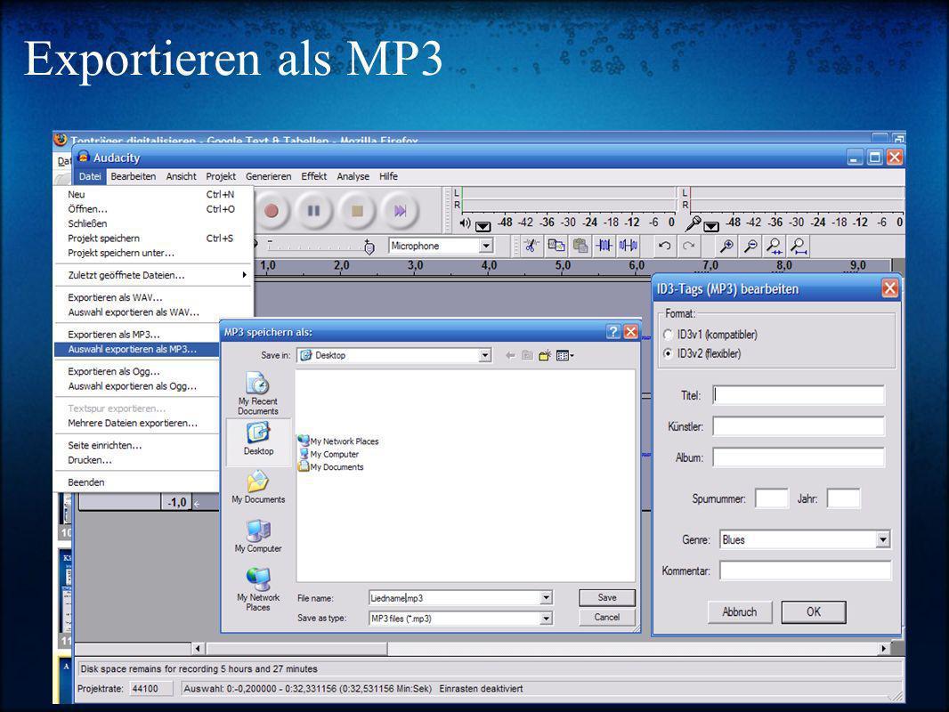 Exportieren als MP3