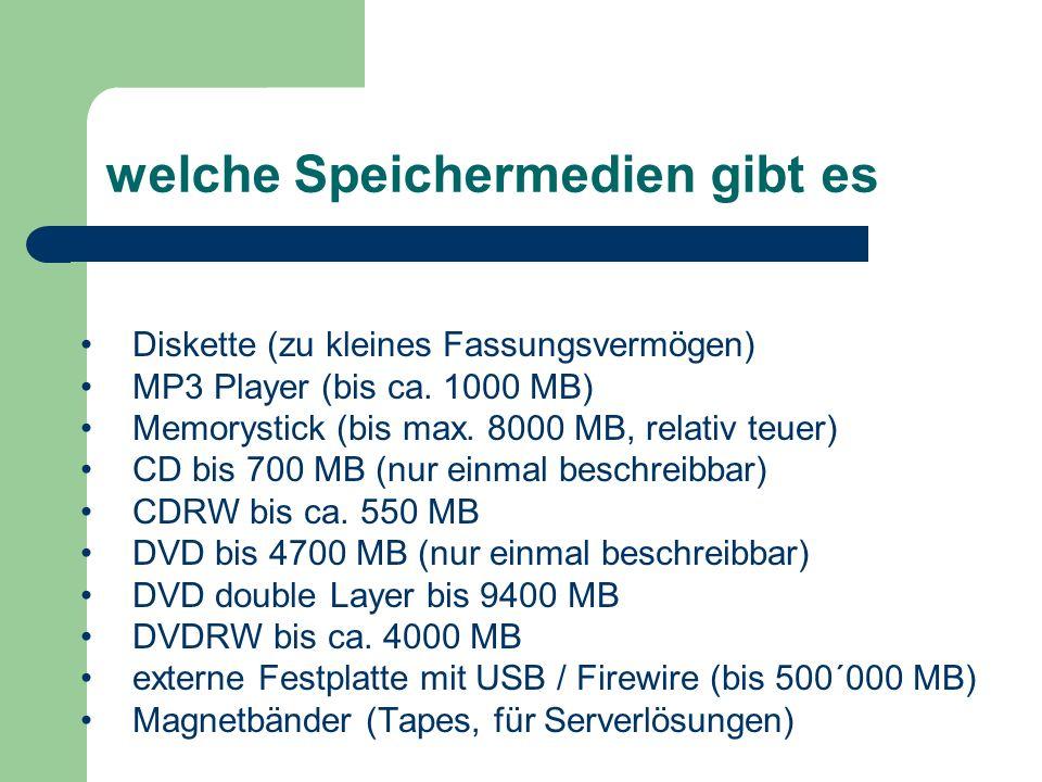 welche Speichermedien gibt es Diskette (zu kleines Fassungsvermögen) MP3 Player (bis ca.